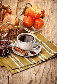 Breakfast with coffee and fruits for good morning