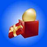 Easter golden egg and gift box