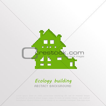 3D paper house abstract background