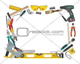 Top view of construction instruments and tools isolated on white background with copy space at center.