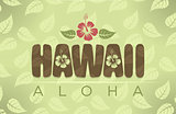 Vector Hawaii word in vintage colors