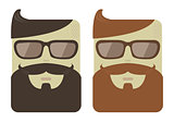 Vector cartoon male faces with hipster beards