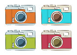 Vector set of retro cameras in linear style