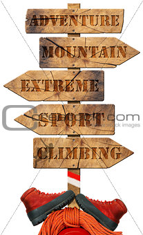 Climbing - Wooden Directional Sign