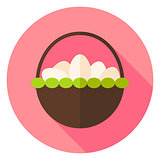 Basket with many Eggs Circle Icon