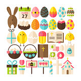 Big Flat Style Vector Collection of Happy Easter Objects