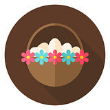 Easter Basket with Eggs and Flowers Circle Icon
