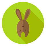 Easter Bunny Circle Icon with long Shadow