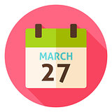 Easter Calendar Date March 27 Circle Icon