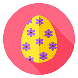 Easter Egg with Floral Decor Circle Icon