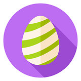 Easter Egg with Striped Decor Circle Icon