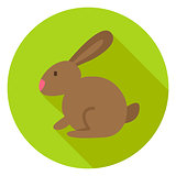 Easter Rabbit Circle Icon with long Shadow