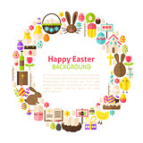 Flat Style Vector Circle Template Collection of Happy Easter Obj