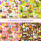 Four Vector Flat Happy Easter Holiday Seamless Patterns Set