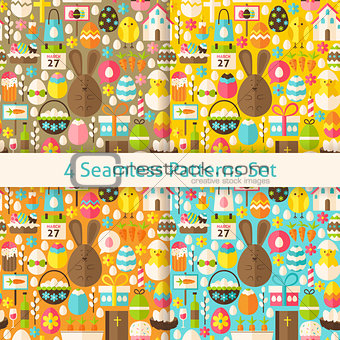 Four Vector Flat Happy Easter Seamless Patterns Set