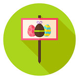 Garden Sign with Easter Eggs Circle Icon