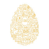 Gold Happy Easter Line Icons Set Egg Shape