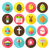 Happy Easter Circle Icons Set with long Shadow