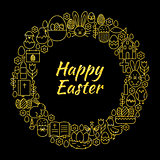 Happy Easter Gold Black Line Art Icons Circle