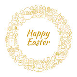Happy Easter Gold Line Art Icons Circle