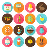 Happy Easter Holiday Circle Icons Set with long Shadow
