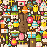 Happy Easter Holiday Vector Flat Brown Seamless Pattern