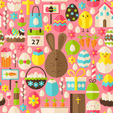 Happy Easter Holiday Vector Flat Pink Seamless Pattern