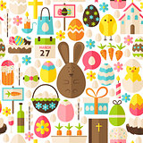 Happy Easter Holiday Vector Flat White Seamless Pattern