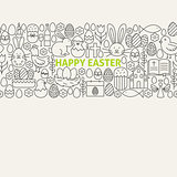 Happy Easter Line Art Icons Seamless Web Banner