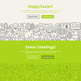 Happy Easter Line Art Web Banners Set