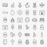 Happy Easter Line Icons Big Set