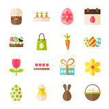 Happy Easter Spring Flat Objects Set isolated over White