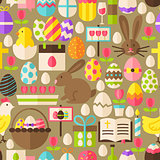 Happy Easter Vector Flat Design Brown Seamless Pattern