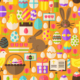 Happy Easter Vector Flat Design Orange Seamless Pattern