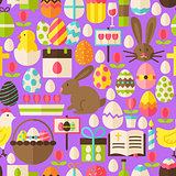 Happy Easter Vector Flat Design Purple Seamless Pattern
