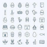 Line Happy Easter Holiday Icons Set
