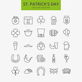 Line Happy Saint Patrick Day Icons Big Set