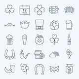 Line Irish Saint Patrick Day Icons Set