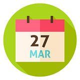 March 27 Easter Calendar Date Circle Icon
