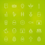 Orthodox Easter Line Icons Set over Blurred Background