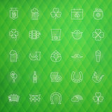Saint Patrick Day Thin Line Icons Set