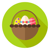 Spring Basket with Easter Eggs Circle Icon