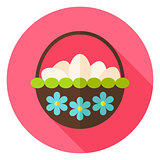 Spring Basket with Flowers full of Eggs Circle Icon