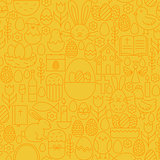 Thin Happy Easter Line Seamless Yellow Pattern