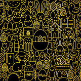 Thin Line Gold Black Happy Easter Seamless Pattern