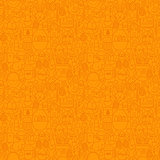 Thin Line Happy Easter Orange Seamless Pattern