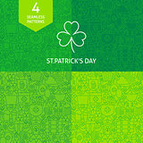 Thin Line Saint Patrick Day Patterns Set