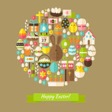 Vector Flat Happy Easter Holiday Objects Concept