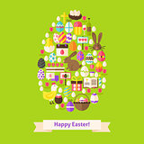 Vector Flat Happy Easter Objects Concept Egg Shaped