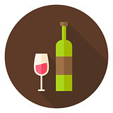 Wine Bottle with Glass Circle Icon